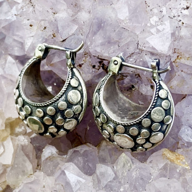 ER 08174-(UNIQUE 925 BALI SILVER ARMADILLO DOME SHAPE EARRINGS)